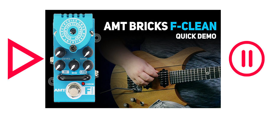 AMT Bricks F-Clean (Fender Twin Emulates) tube preamp DEMO (no talking)